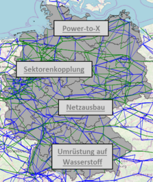 German electricity transmission and gas transport grid